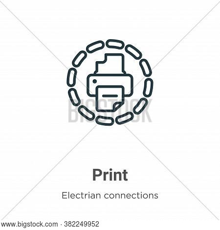 Print icon isolated on white background from electrian connections collection. Print icon trendy and