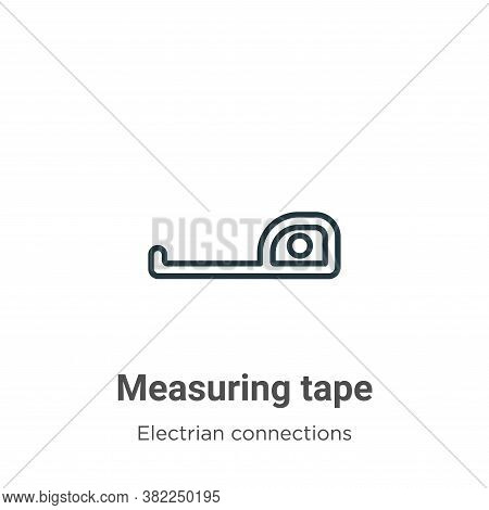 Measuring tape icon isolated on white background from electrian connections collection. Measuring ta