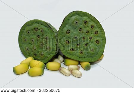 Closeup Of Indian Lotus Pod Or Nelumbo Nucifera Pods Isolated On White Background