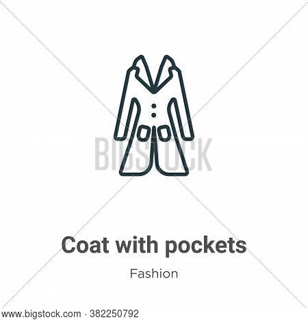 Coat with pockets icon isolated on white background from fashion collection. Coat with pockets icon