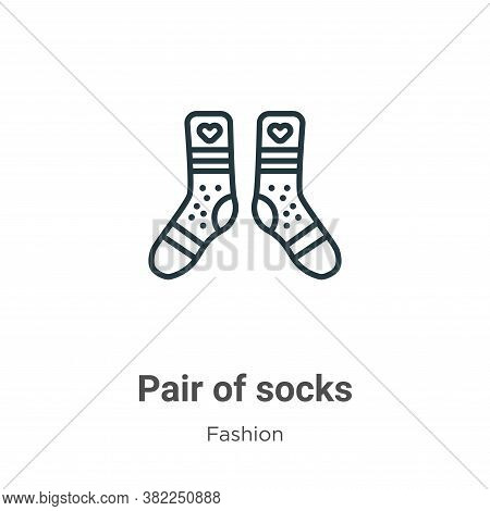 Pair of socks icon isolated on white background from fashion collection. Pair of socks icon trendy a