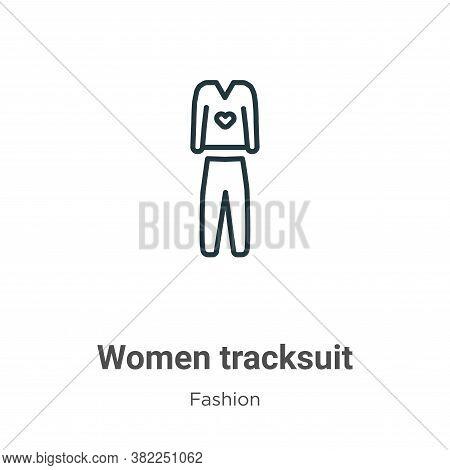Women tracksuit icon isolated on white background from fashion collection. Women tracksuit icon tren