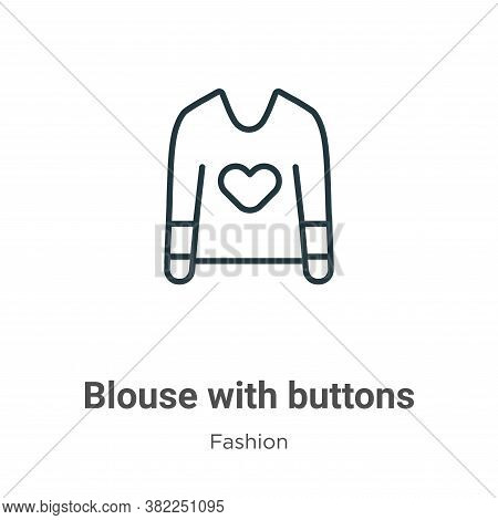 Blouse with buttons icon isolated on white background from fashion collection. Blouse with buttons i