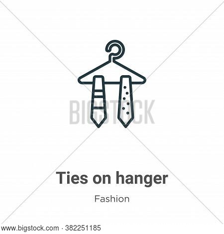 Ties on hanger icon isolated on white background from fashion collection. Ties on hanger icon trendy