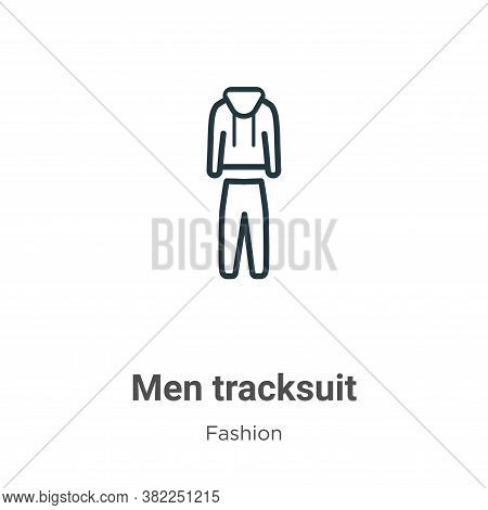 Men tracksuit icon isolated on white background from fashion collection. Men tracksuit icon trendy a