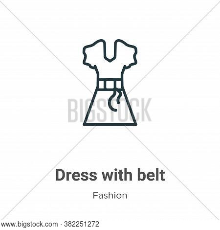 Dress with belt icon isolated on white background from fashion collection. Dress with belt icon tren