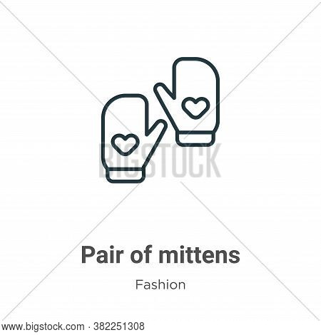 Pair of mittens icon isolated on white background from fashion collection. Pair of mittens icon tren