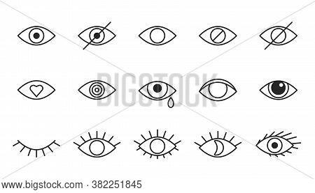 Eye Line Icons, Editable Strokes. Open, Closed Eyes, Visible Invisible Concept, Hidden Password, Vie
