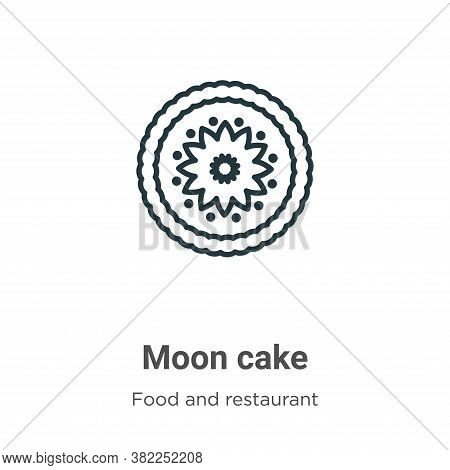 Moon cake icon isolated on white background from food and restaurant collection. Moon cake icon tren