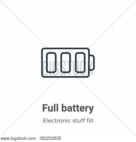 Full battery icon isolated on white background from electronic stuff fill collection. Full battery i