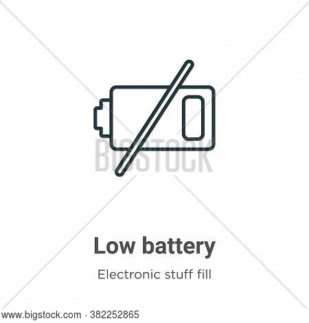 Low battery icon isolated on white background from electronic stuff fill collection. Low battery ico