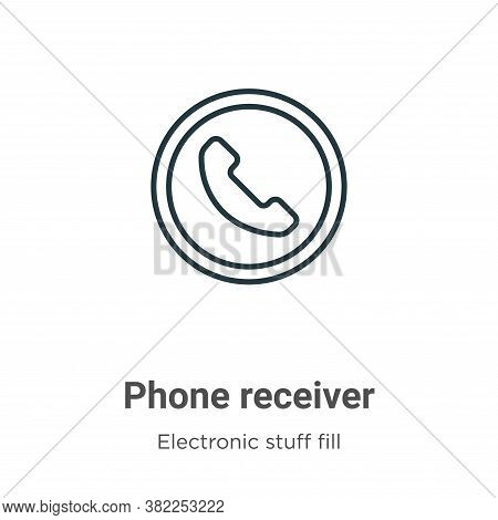 Phone receiver icon isolated on white background from electronic stuff fill collection. Phone receiv