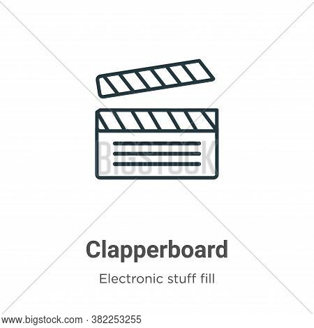 Clapperboard icon isolated on white background from electronic stuff fill collection. Clapperboard i