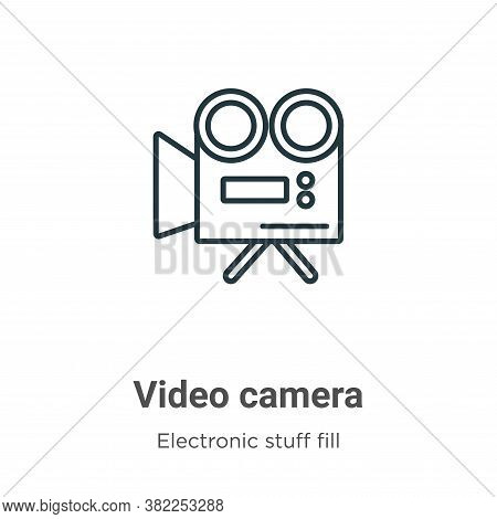 Video camera icon isolated on white background from electronic stuff fill collection. Video camera i