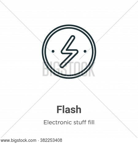 Flash icon isolated on white background from electronic stuff fill collection. Flash icon trendy and