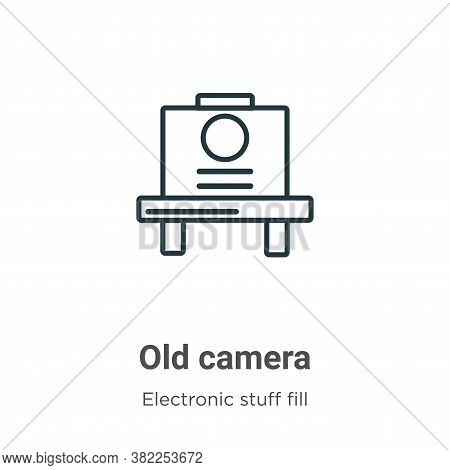 Old camera icon isolated on white background from electronic stuff fill collection. Old camera icon