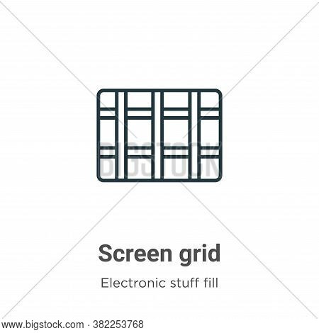 Screen grid icon isolated on white background from electronic stuff fill collection. Screen grid ico