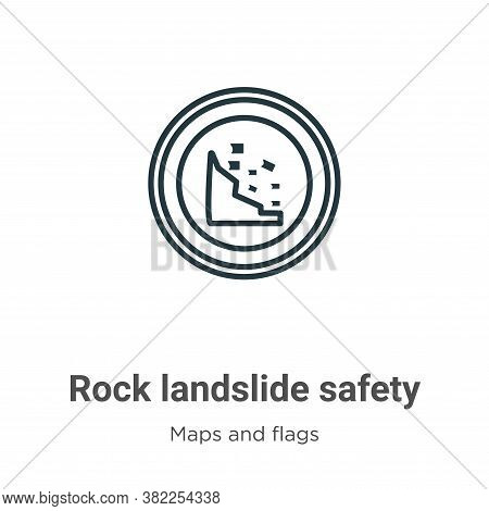 Rock landslide safety icon isolated on white background from maps and flags collection. Rock landsli