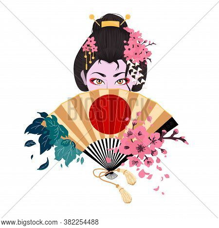 Japanese Woman Covers Her Face With A Fan. Sakura Blossom. Cherry Branch With Flowers And Bud. Petal