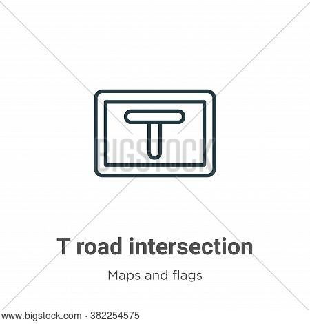 T road intersection icon isolated on white background from maps and flags collection. T road interse