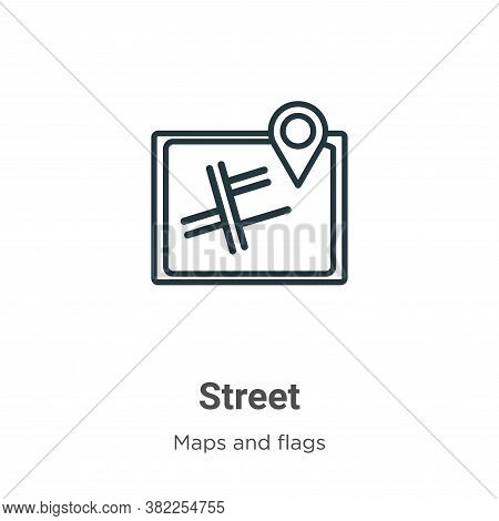 Street icon isolated on white background from maps and flags collection. Street icon trendy and mode