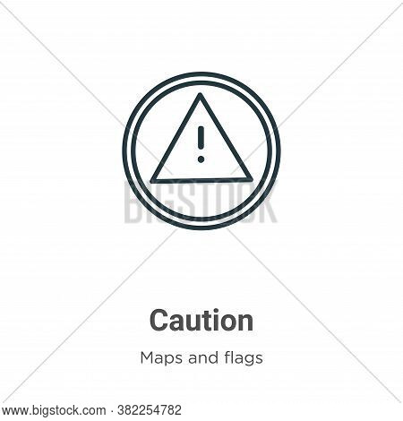 Caution icon isolated on white background from maps and flags collection. Caution icon trendy and mo