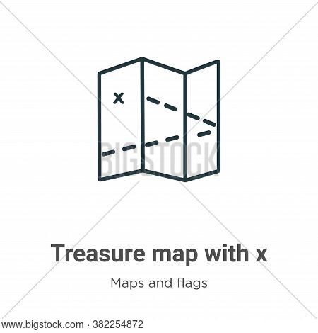 Treasure map with x icon isolated on white background from maps and flags collection. Treasure map w