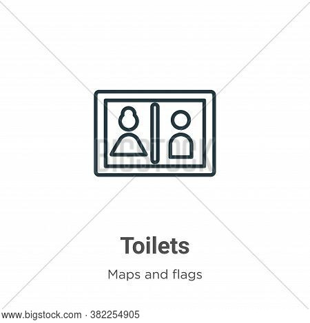 Toilets icon isolated on white background from maps and flags collection. Toilets icon trendy and mo
