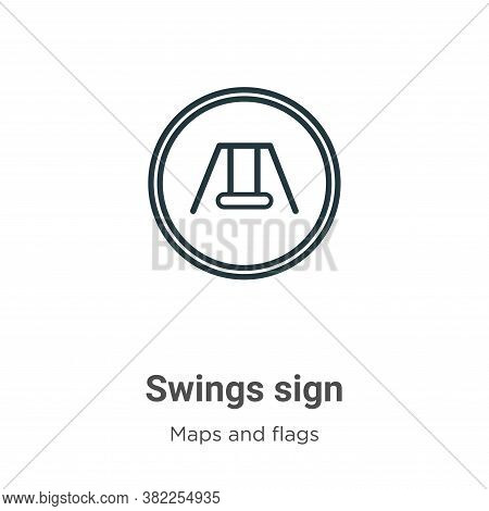 Swings sign icon isolated on white background from maps and flags collection. Swings sign icon trend