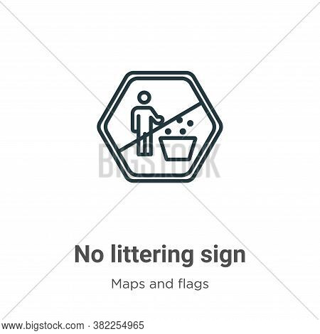 No littering sign icon isolated on white background from maps and flags collection. No littering sig