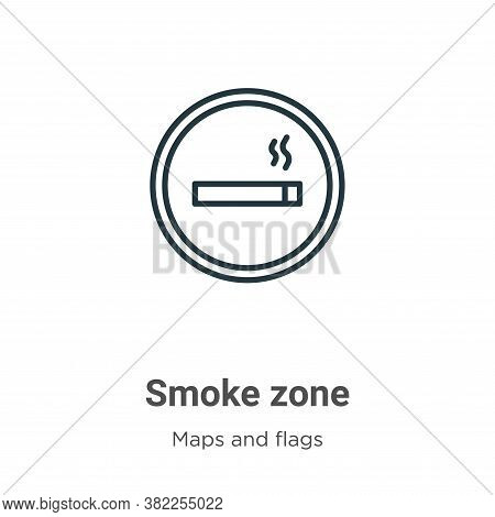 Smoke zone icon isolated on white background from maps and flags collection. Smoke zone icon trendy