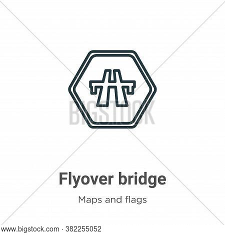 Flyover bridge icon isolated on white background from maps and flags collection. Flyover bridge icon