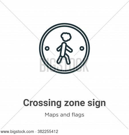 Crossing zone sign icon isolated on white background from maps and flags collection. Crossing zone s