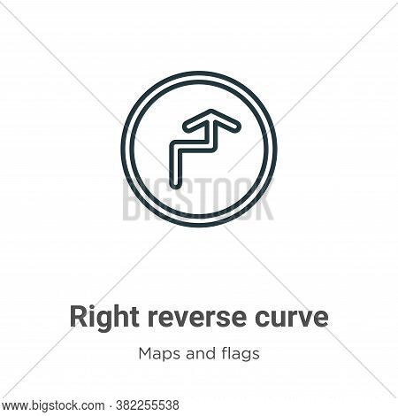 Right reverse curve icon isolated on white background from maps and flags collection. Right reverse