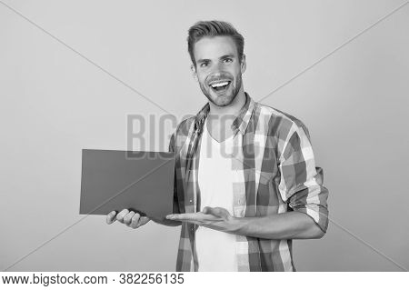 You Need This Product. Happy Guy Hold Pink Sheet And Open Hand. Presenting Product. Product Promotio