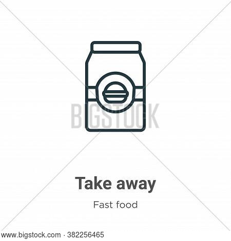 Take away icon isolated on white background from fast food collection. Take away icon trendy and mod