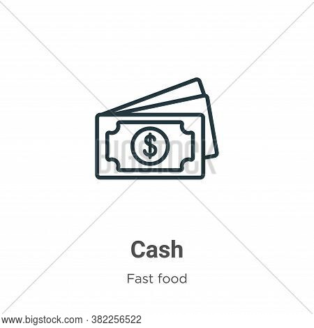 Cash icon isolated on white background from fast food collection. Cash icon trendy and modern Cash s
