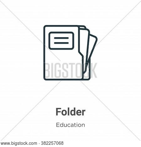 Folder icon isolated on white background from education collection. Folder icon trendy and modern Fo
