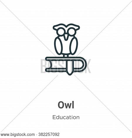 Owl icon isolated on white background from education collection. Owl icon trendy and modern Owl symb