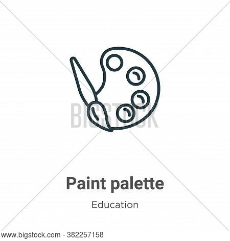 Paint palette icon isolated on white background from education collection. Paint palette icon trendy