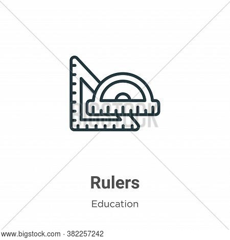 Rulers icon isolated on white background from education collection. Rulers icon trendy and modern Ru