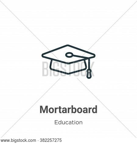 Mortarboard icon isolated on white background from education collection. Mortarboard icon trendy and