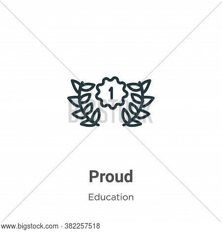 Proud icon isolated on white background from graduation and education collection. Proud icon trendy