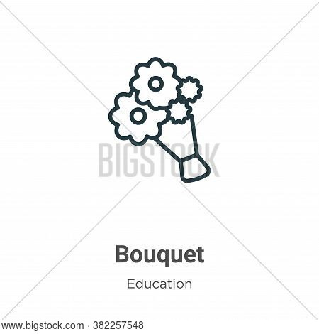 Bouquet icon isolated on white background from graduation and education collection. Bouquet icon tre
