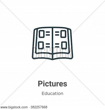 Pictures icon isolated on white background from graduation and education collection. Pictures icon t