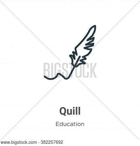 Quill icon isolated on white background from literature collection. Quill icon trendy and modern Qui