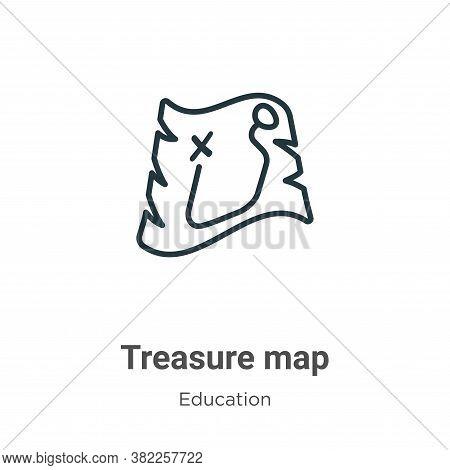 Treasure map icon isolated on white background from literature collection. Treasure map icon trendy