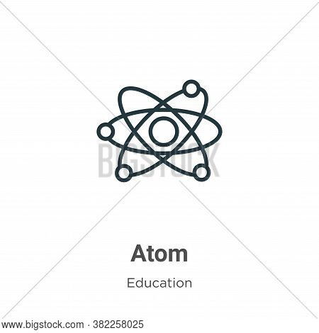 Atom icon isolated on white background from literature collection. Atom icon trendy and modern Atom