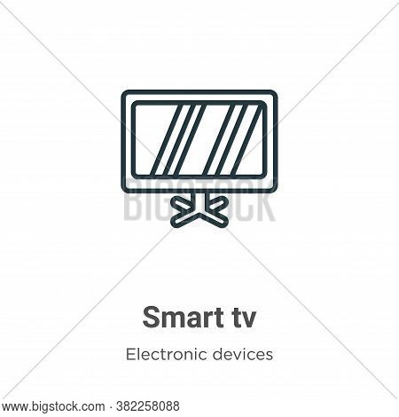 Smart tv icon isolated on white background from electronic devices collection. Smart tv icon trendy