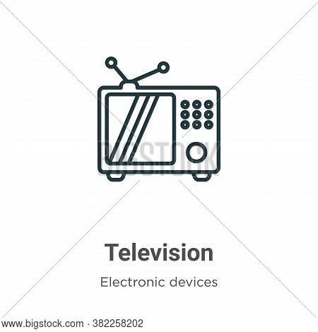 Television icon isolated on white background from electronic devices collection. Television icon tre